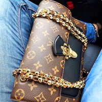 Louis Vuitton Women's texture printing wild casual shoulder diagonal cross bag small square bag chain bag Black
