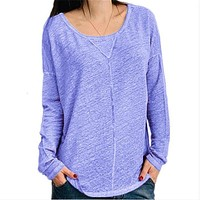 fhotwinter19 new solid color round neck long sleeve women's T-shirt