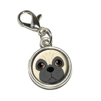 Graphics and More Pug Face Dog Pet Antiqued Bracelet Pendant Zipper Pull Charm with Lobster Clasp