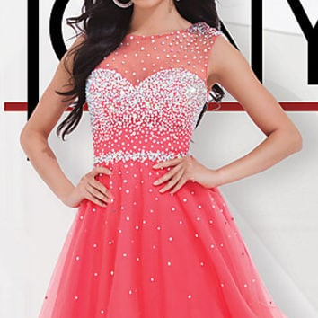 Short Prom Dress with A-Line Skirt by Tony Bowls