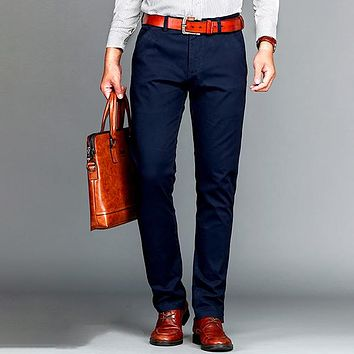 Mens Casual Business Pant Cotton Stretch Trousers