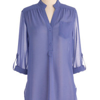 Sheer for You Top in Lilac | Mod Retro Vintage Long Sleeve Shirts | ModCloth.com