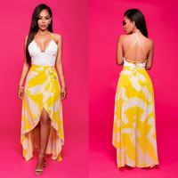 White and Yellow Lace Asymmetrical Maxi Dress