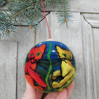 Christmas tree ornament, large felted Christmas ball with three cats, OOAK
