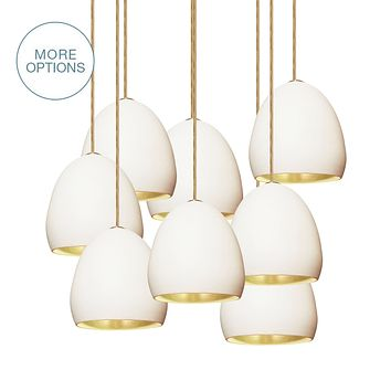 """7"""" Matte White & Brass Leaf Clay Multiple Stagger Pendant Chandelier"""