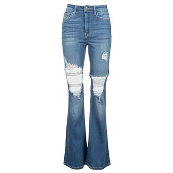 Jukebox Hero High Rise Ripped Bell Bottom Jeans