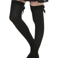 LOVEsick Black And Black Bow Over-The-Knee Socks