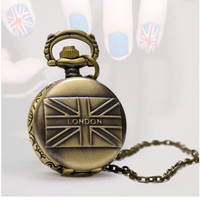 New fashion long pocket watch,Cute bronze UK flag  with LONDON word  long necklace,special for you