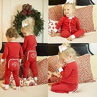 Xmas Baby Boy Kids Infant Long Red Sleeve Romper Jumpsuit Clothes Outfit Baby Boy Girl Autumn Warm Clothing Set