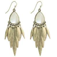 White Shell and Gold Chandelier Earring