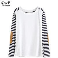 Korean Clothes Women Shirt Famous Brand Women Long Sleeve T Shirt Fall T Shirts Elbow Patch Striped T-shirt