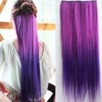 Uniwigs Ombre Dip-dye Color Clip in Extension 60cm Length Rose Red and Dark Purple Straight for Dreamlike Girls Tbe8000