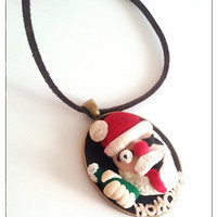 Santa Claus Necklace, Humorous Gifts, Stocking Stuffer, December Gifts, Festive Jewelry, Polymer Clay Jewelry, Christmas Sale, Gifts For Mom