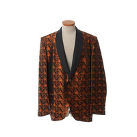 Vintage 60s Mens Copper Tuxedo Jacket 1960s Satin Shawl Collar Brocade Smoking Rockabilly Rat Pack Lounge Dinner Rocker Jacket / size 44L