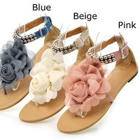 FREE SHIPPING - Lovely floral summer spring sandals flats shoes