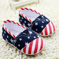 Unisex Toddler Star Stripe Print Soft Crib Shoes Boys US Flag Prewalkers Sneaker NW