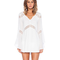 Long Flared Sleeve Lace Cut-Out Mini Beach Dress