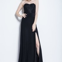 Beautifly Black Sequin High Slit Strapless Evening Party Ball Gown