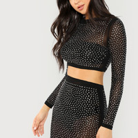 Sheer Mesh Rhinestone Top And Skirt Set