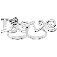 Gun Metal Color Love Heart Double Finger Ring | Body Candy Body Jewelry