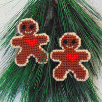 Gingerbread Men Ornaments, Christmas Needle Art Gingerbread Men, Holiday Ornament Package Toppers, Christmas Cookie Ornaments