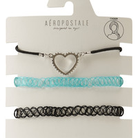 Aeropostale  Heart & Solid Chokers 3-Pack - Purple, One