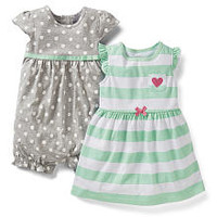 Carter's Girls 2 Pack Whale Printed Flutter Sleeve Romper and Blue Polka Dot Printed Sleeveless Dress with Diaper Cover