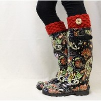 Catherine Cole Studio, fashion rain boots, tall boots, rubber boots,wellies, muck boots, print rainboots, rubber rain boots, rain boots with bows,