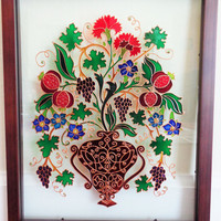 """Vintage flowers painting 12""""x15"""" Glass painting Bohemian decor Wall decor"""
