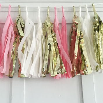 Pink and Gold Tissue Paper Tassel Pennant