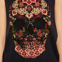 Truly Madly Deeply Layered Skull Tank - Urban Outfitters