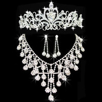 Wedding Bridal Sets Necklace Crown Earrings Silver Drop White Crystal Bib Style