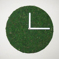 Unique Wall Clock, Moss Decor, Green Clock, Large Clock, Home and Living, Decor and Housewares,  Unique Clock,  Unique Gift, Gift For Him