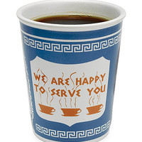 CERAMIC GREEK COFFEE CUP | We Are Happy To Serve You, Diner Mug | UncommonGoods