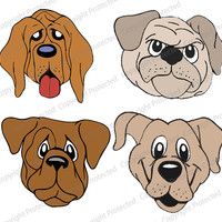 Dog Faces SVG, Studio V3 Cut files for use with Silhouette Studio & Cricut. SVG Cut Files works with cameo, cricut and other craft cutters