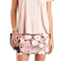 Floral Print Bodycon Mini Skirt by Charlotte Russe - Natural Combo