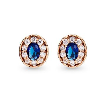[4.72] In Stock TINYSAND® Gold-plated copper Blue CZ Earring Clip - Dressilyme.com