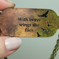 Mantra bracelet With brave wings she flies bracelet gold and copper leather