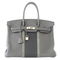 HERMES BIRKIN 35 Bag Limited Edition Club Etain Gray Permabrass rare