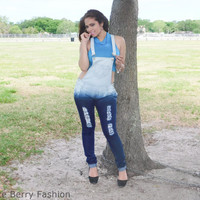 Distressed Ombre Overalls