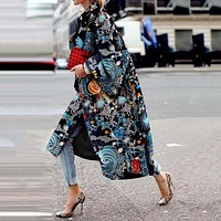 Star Print Fashion Trench Coat Women Long Coats Fall Winter Plus Size Flare Sleeve Designer Boho Streetwear Casual Overcoat 2019