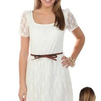 short sleeve lace high low dress with belt