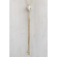 CNJ Vintage Seashell Lariat Necklace