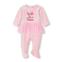 Layette Velour 'Sparkle Like A Princess' Tutu Footed Coverall   The Children's Place