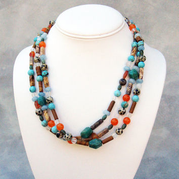 Handmade Multi Strand Gemstone Necklace and Earring Set with Jasper and Turquoise. Ineke de Vries.Green.Orange. Australia -50cm(19.7 Inches)