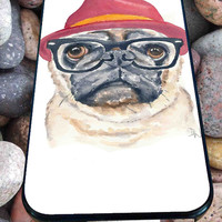 Cute Turquoise Pug Animal Illstration for iPhone 4/4s, iPhone 5/5S/5C/6, Samsung S3/S4/S5 Unique Case *76*