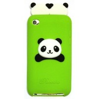 BUKIT CELL GREEN Cute Panda (TWINS) Cartoon Soft Silicone Gel Skin Case Cover for IPOD TOUCH 4 4G 4TH GENERATION + Free Screen Protector + Free METALLIC Detachable Touch Screen STYLUS PEN with Anti Dust Plug