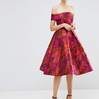 ASOS Floral Jacquard Bardot Prom Dress at asos.com