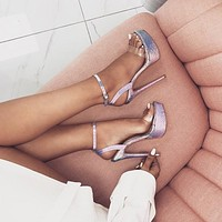 Summer new style buckle belt thunder color snake print super high heel high heel sexy sandals