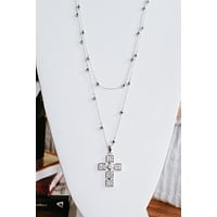Double Layer Square Cross Necklace